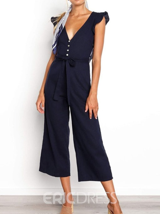 Ericdress Plain Lace-Up Mid-Calf Loose Wide Legs Jumpsuit