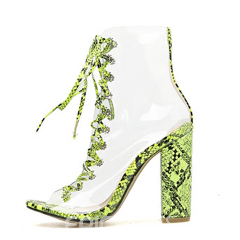 Ericdress PVC Lace-Up Front Chunky Heel Women's Ankle Boots