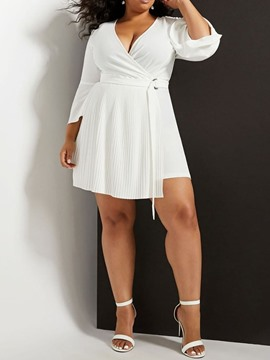 Ericdress Plus Size V-Neck Above Knee A-Line Plain White Casual Dress
