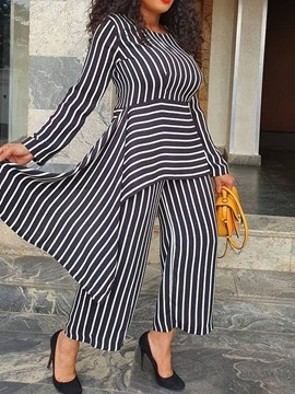 Ericdress Asymmetric Stripe Round Neck Straight Two Piece Sets