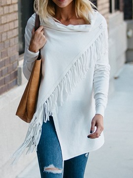 Ericdress Tassel Loose Asymmetric Straight Mid-Length Plain Sweater