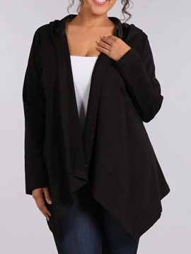 Ericdress Plus Size Mid-Length Asymmetric Long Sleeve Loose Trench Coat