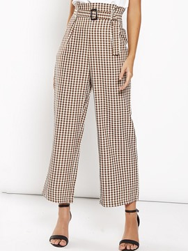 Ericdress Plaid Loose Wide Legs Mid-Calf Casual Pants