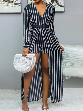 Ericdress Full Length Stripe Asymmetric Slim Jumpsuit