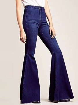 Ericdress Bellbottoms Plain Washable Loose Zipper Jeans