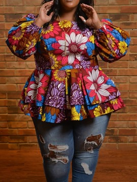 Ericdress Plus Size African Fashion Lantern Sleeve Round Neck Mid-Length Blouse