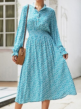 Ericdress Flare Sleeve Mid-Calf Pleated Floral A-Line Vintage Dress