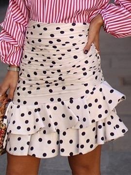 Ericdress Polka Dots Mini Skirt Asymmetrical Skirt