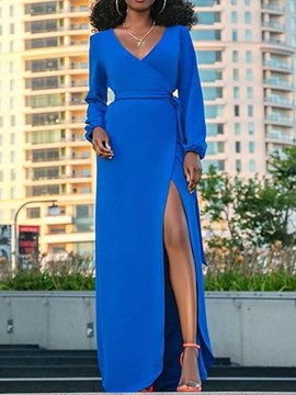 Ericdress V-Neck Split Long Sleeve A-Line Plain Blue Maxi Dress