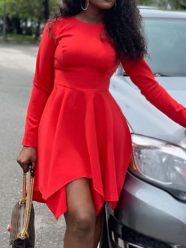 Ericdress Long Sleeve Asymmetric Above Knee A-Line Plain Red Dress
