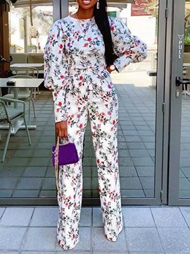Ericdress Plant Print Full Length Slim Straight Jumpsuit