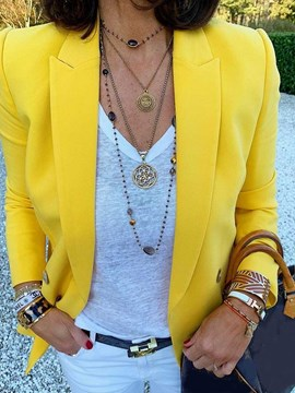 Ericdress Notched Lapel Three-Quarter Sleeve Plain Yellow Blazer