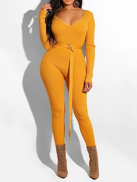 Ericdress Plain Lace-Up Ankle Length High Waist Slim Jumpsuit