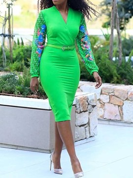 Ericdress Patchwork V-Neck Long Sleeve Mid-Calf Bodycon Green Dress