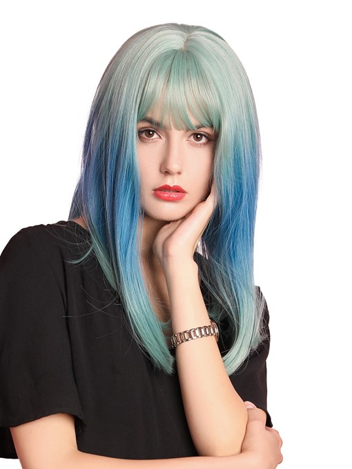 Ericdress Women's Medium Mixed Color Cosplay Hairstyles Straight Synthetic Hair Capless Wigs 16Inches