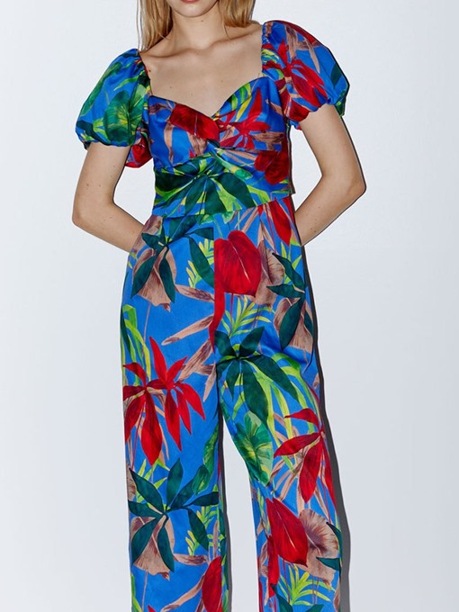 Ericdress Mid-Calf Print Wide Legs Loose Jumpsuit