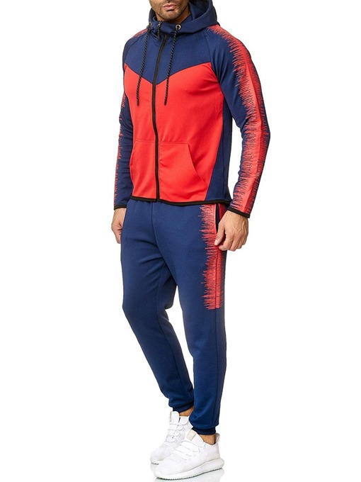 Ericdress Hoodie Color Block Men's Zipper Outfit