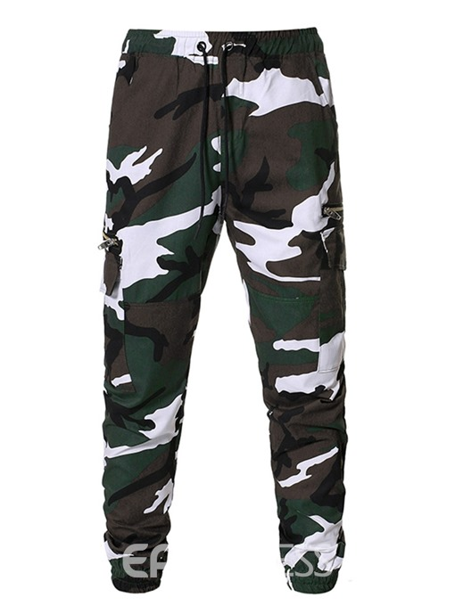 Ericdress Camouflage Zipper Overall Mid Waist Casual Men's Pants