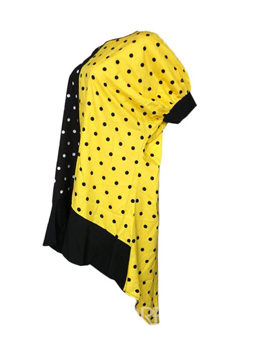 Ericdress Polka Dots Color Block Round Neck Patchwork Batwing Sleeve Swallowtail Dress