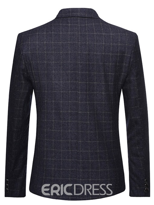 Ericdress Notched Lapel Slim Men's Plaid Blazer