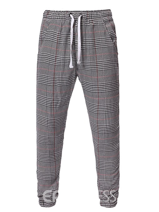 Ericdress Plaid Print Four Seasons Mid Waist Men's Casual Pants