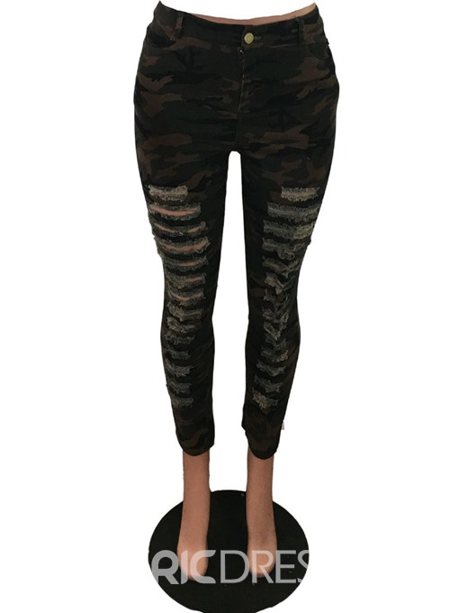Ericdress Skinny Camouflage Hole Pencil Pants Full Length Casual Pants