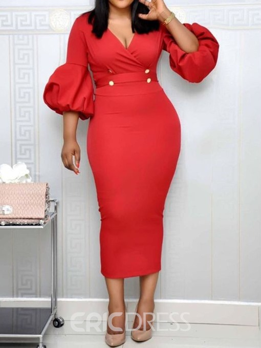 Ericdress Lace-Up Lantern Sleeve Mid-Calf Bodycon Plain Red Dress