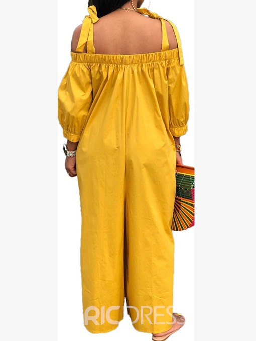Ericdress Strap Full Length Loose Wide Legs Jumpsuit