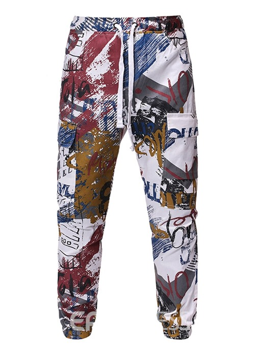 Ericdress Letter Overall Print Casual Men's Pants