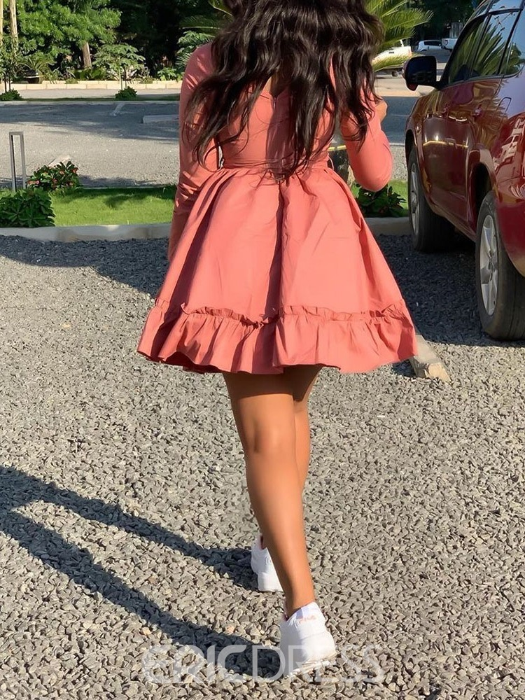 Ericdress Round Neck Above Knee Lace-Up A-Line Pink Casual Dress