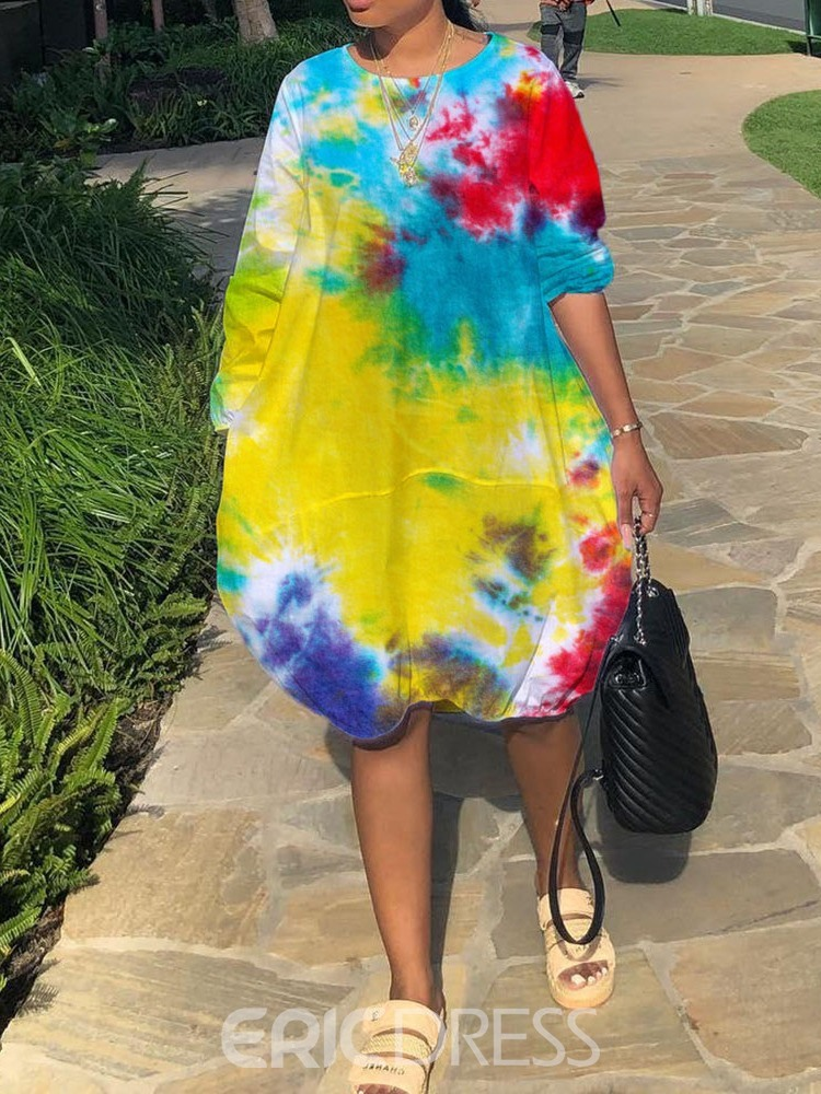 ericdress print rundhals langarm hohe taille casual dress