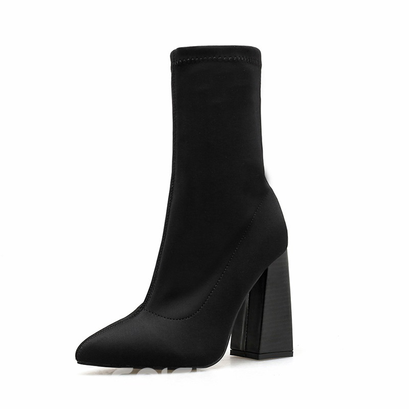 Ericdress Plain Pointed Toe Slip-On Women's Ankle Boots