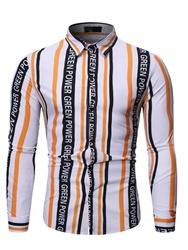 Ericdress Letter Button Casual Single-Breasted Mens Slim Shirt