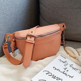 Ericdress Plain Zipper Saddle Crossbody Bags