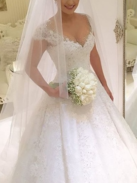 Ericdress Cap Sleeves Beading Appliques Ball Gown Wedding Dress