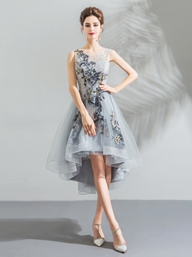 Ericdress Asymmetry Appliques A-Line Sleeveless Homecoming Dress
