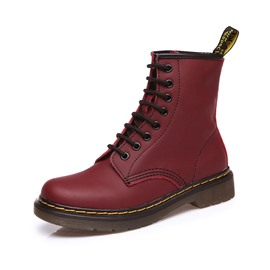 Ericdress Color Block Round Toe Lace-Up Front Women's Boots