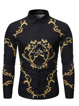 Ericdress Lapel Casual Print Slim Men's Shirt