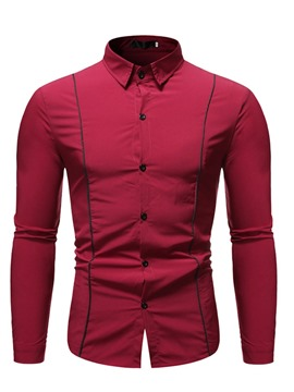 Ericdress Color Block Casual Lapel Single-Breasted Men's Shirt