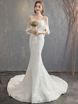 Ericdress Appliques Half Sleeves Spaghetti Straps Hall Wedding Dress 2020
