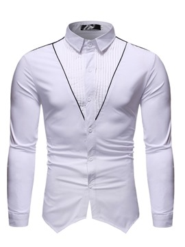 Ericdress Patchwork Color Block Casual Single-Breasted Slim Men's Shirt