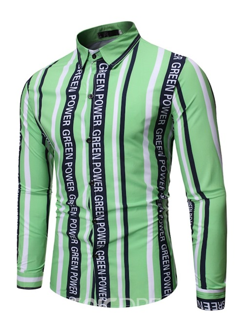Ericdress Letter Button Casual Single-Breasted Men's Slim Shirt