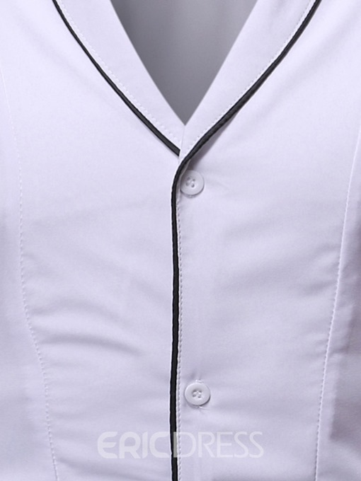 Ericdress Patchwork Color Block Casual Single-Breasted Men's Slim Shirt
