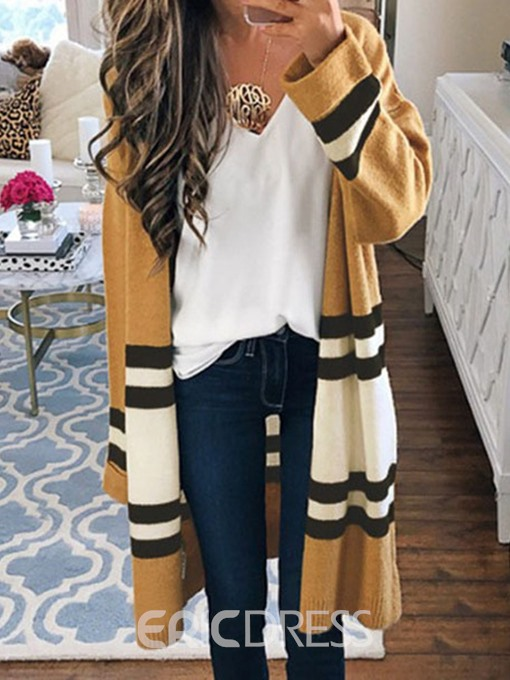 Ericdress Wrapped Long Winter Straight Trench Coat