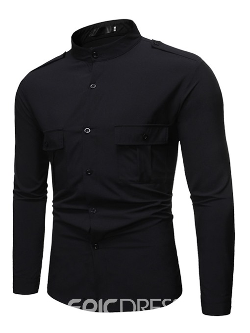 Ericdress Multicolor Button Plain Casual Men's Slim Shirt