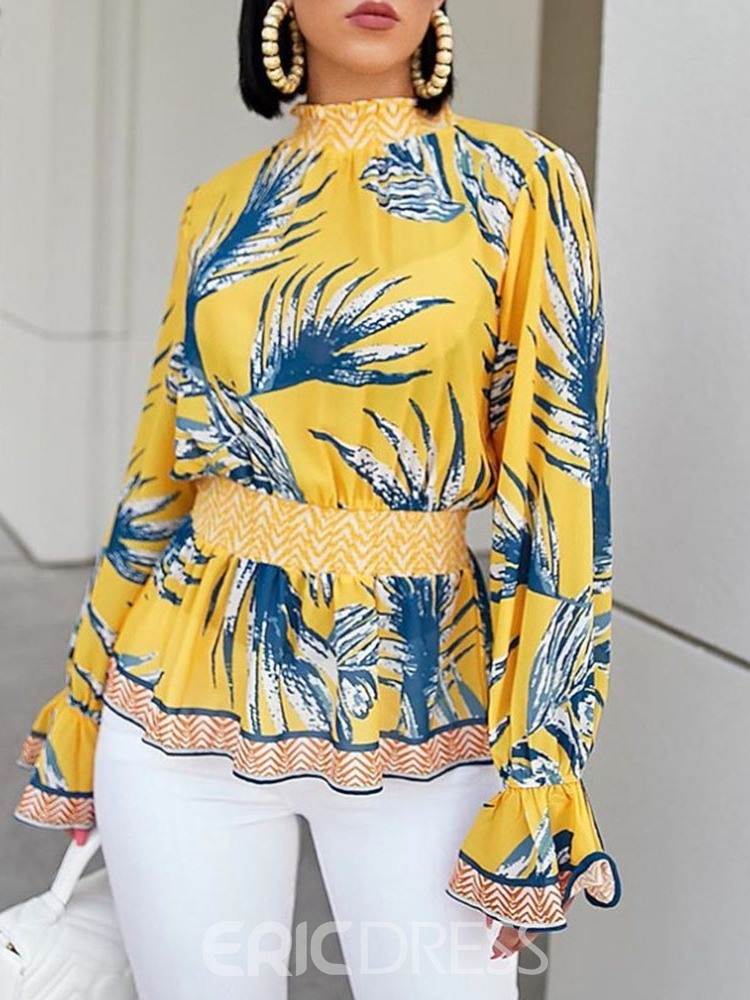 Ericdress Plant Stand Collar Print Flare Sleeve Standard Blouse