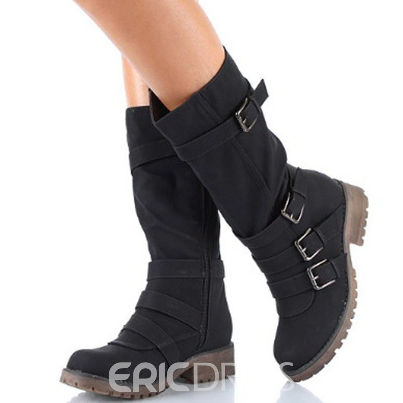 Ericdress Round Toe Side Zipper Plain Women's Flat Boots