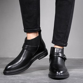 Ericdress Slip-On Pointed Toe Patchwork Men's Boots