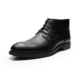 Ericdress Lace-Up Front Plain Round Toe Men's Boots