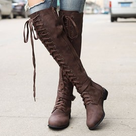 Ericdress PU Round Toe Side Zipper Women's Knee High Boots